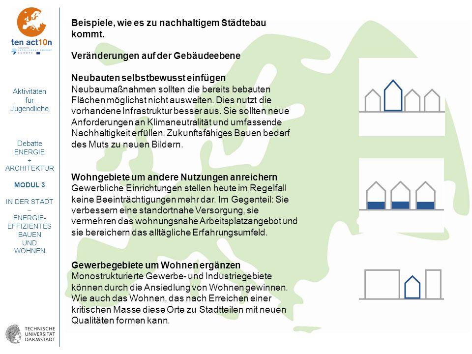 Aktivitäten für Jugendliche Debatte ENERGIE + ARCHITEKTUR MODUL 3 IN DER STADT – ENERGIE- EFFIZIENTES BAUEN UND WOHNEN Beispiele, wie es zu nachhaltig