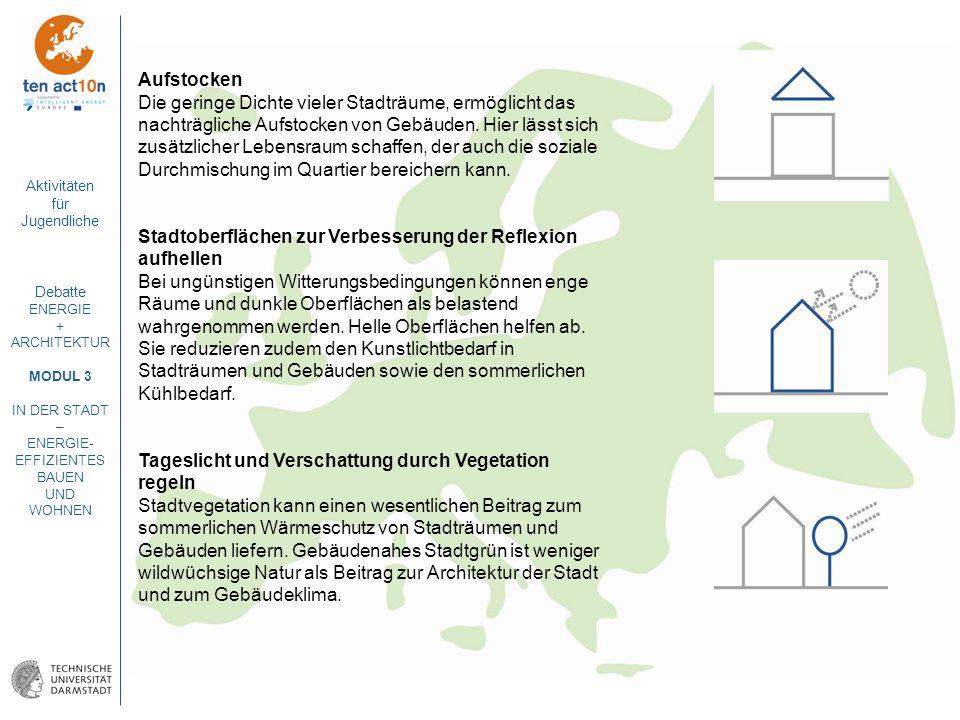 Aktivitäten für Jugendliche Debatte ENERGIE + ARCHITEKTUR MODUL 3 IN DER STADT – ENERGIE- EFFIZIENTES BAUEN UND WOHNEN Aufstocken Die geringe Dichte v
