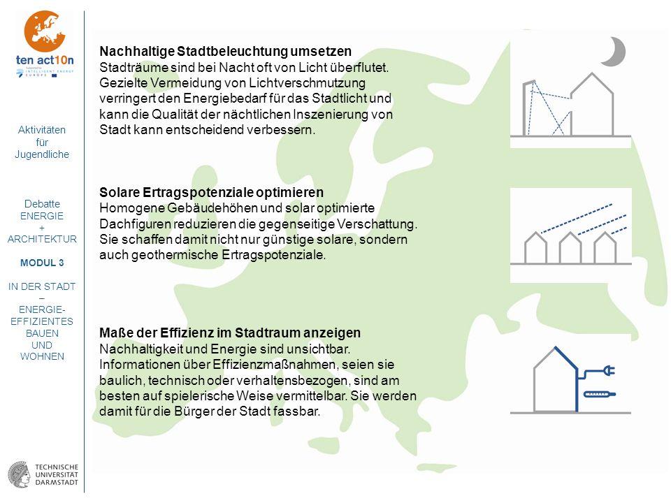 Aktivitäten für Jugendliche Debatte ENERGIE + ARCHITEKTUR MODUL 3 IN DER STADT – ENERGIE- EFFIZIENTES BAUEN UND WOHNEN Nachhaltige Stadtbeleuchtung um