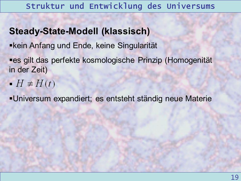 Struktur und Entwicklung des Universums 09/12/2004Linda Kern 19 Steady-State-Modell (klassisch) kein Anfang und Ende, keine Singularität es gilt das p