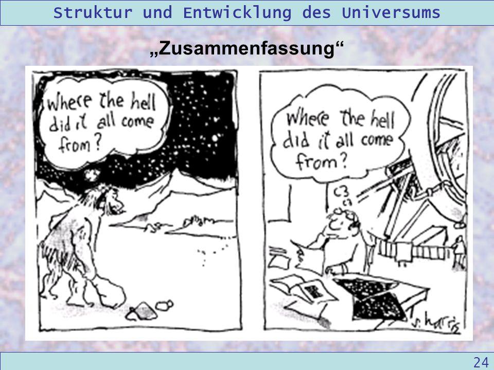 Struktur und Entwicklung des Universums 09/12/2004Linda Kern 24 Zusammenfassung