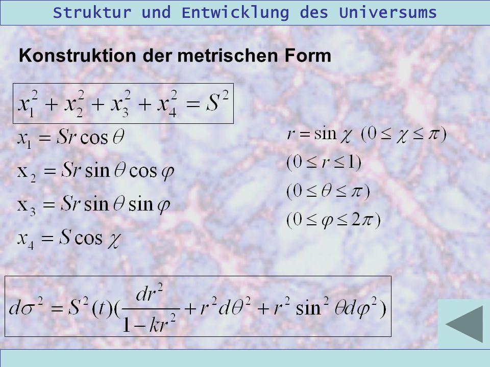 Struktur und Entwicklung des Universums 09/12/2004Linda Kern Konstruktion der metrischen Form