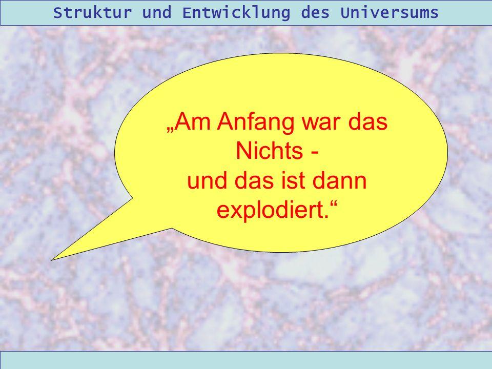 Struktur und Entwicklung des Universums 09/12/2004Linda Kern Am Anfang war das Nichts - und das ist dann explodiert.
