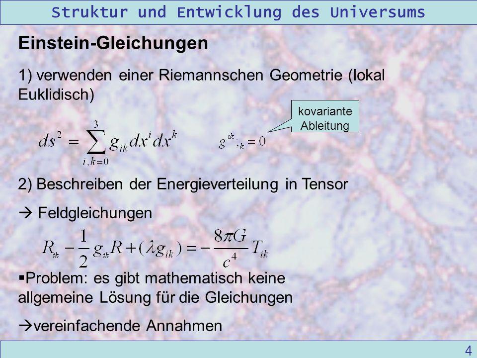 Struktur und Entwicklung des Universums 09/12/2004Linda Kern 4 Einstein-Gleichungen 1) verwenden einer Riemannschen Geometrie (lokal Euklidisch) Probl