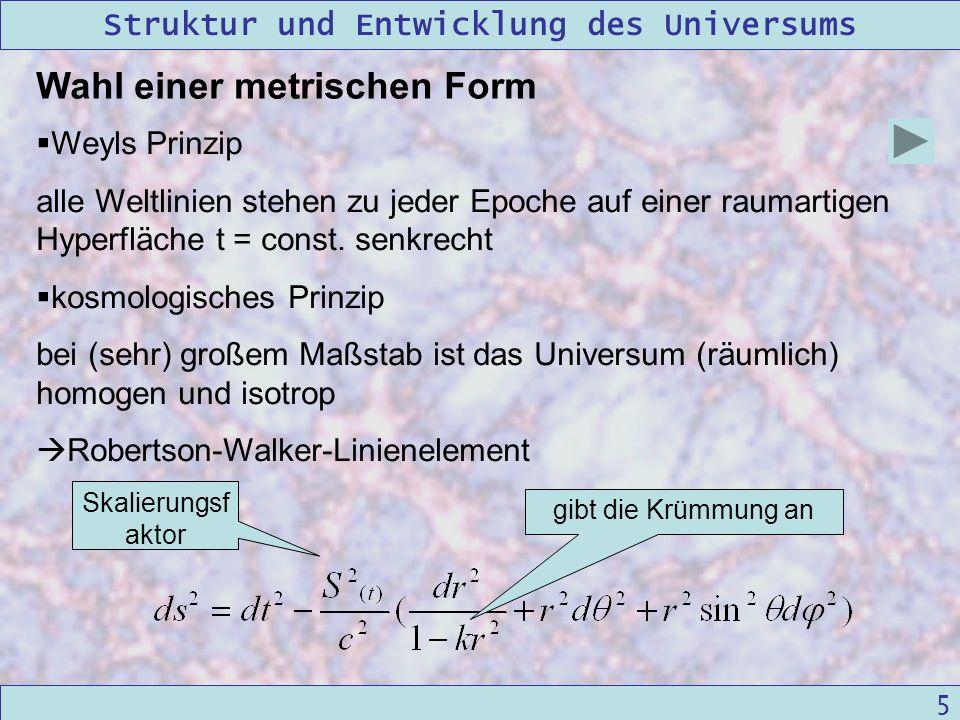 Struktur und Entwicklung des Universums 09/12/2004Linda Kern 5 Wahl einer metrischen Form Weyls Prinzip alle Weltlinien stehen zu jeder Epoche auf ein