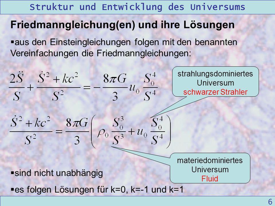 Struktur und Entwicklung des Universums 09/12/2004Linda Kern 6 Friedmanngleichung(en) und ihre Lösungen aus den Einsteingleichungen folgen mit den ben