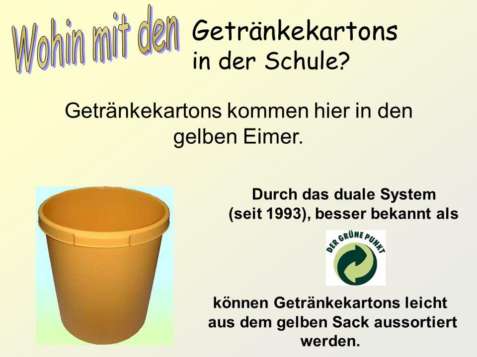 Getränkekartons in der Schule? Getränkekartons kommen hier in den gelben Eimer. Durch das duale System (seit 1993), besser bekannt als können Getränke