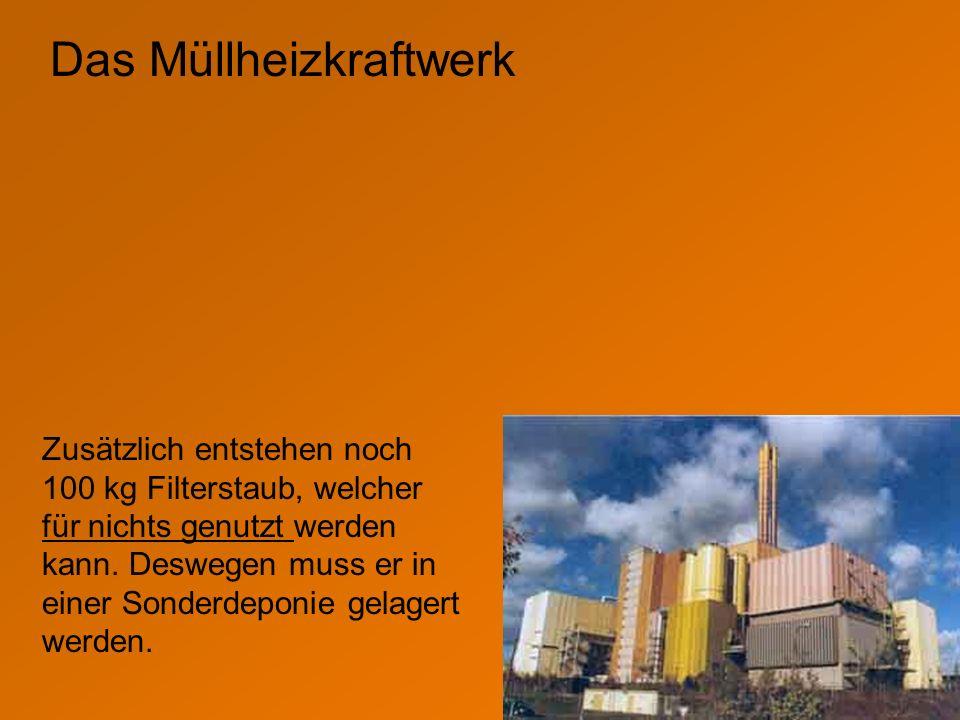 Das Müllheizkraftwerk Zusätzlich entstehen noch 100 kg Filterstaub, welcher für nichts genutzt werden kann. Deswegen muss er in einer Sonderdeponie ge