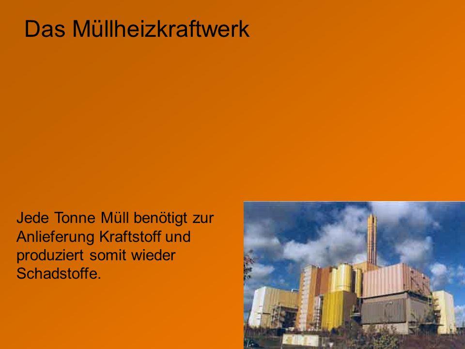 Das Müllheizkraftwerk Jede Tonne Müll benötigt zur Anlieferung Kraftstoff und produziert somit wieder Schadstoffe.