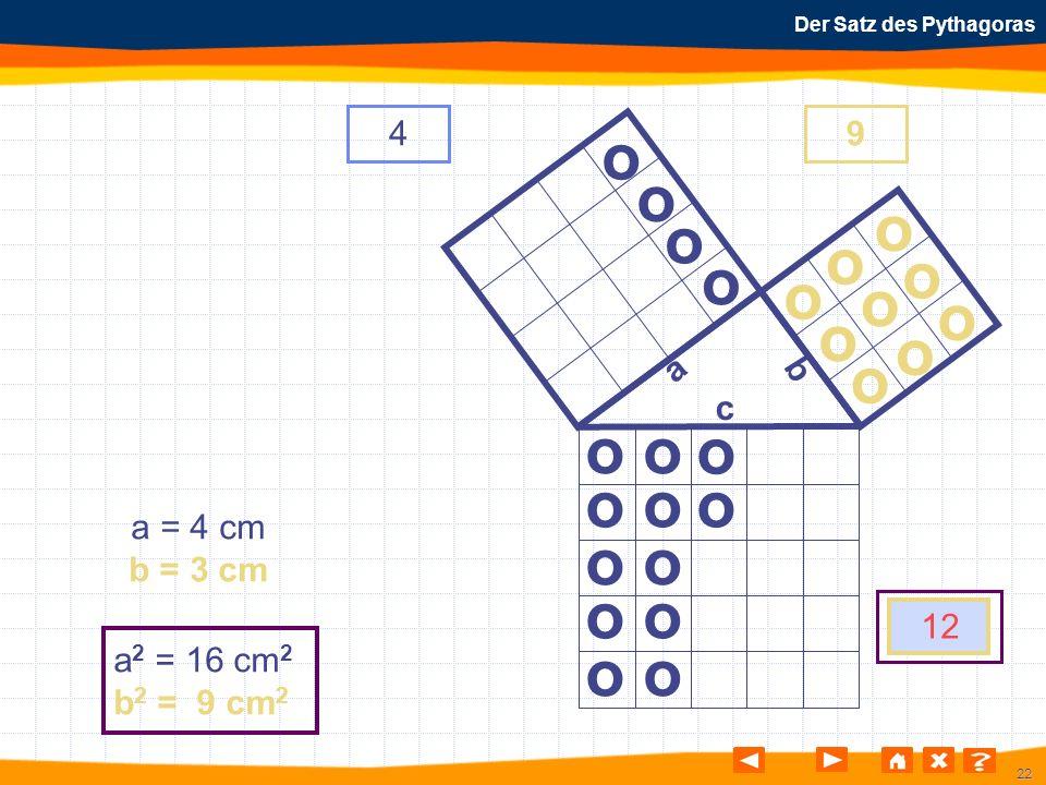 22 Der Satz des Pythagoras o o o o o o o o o o o o o o o o o o o o o o o o a b c a = 4 cm b = 3 cm a 2 = 16 cm 2 b 2 = 9 cm 2 49 12 o