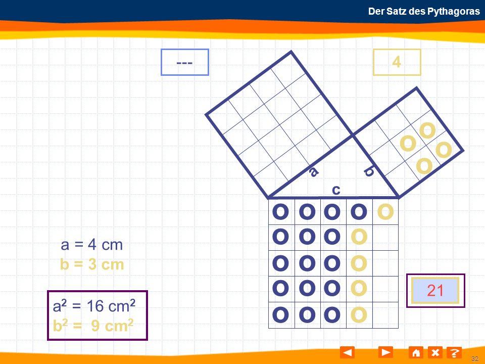 32 Der Satz des Pythagoras o o o o o o o o o o o o o o o o o o o o o o o o a b c a = 4 cm b = 3 cm a 2 = 16 cm 2 b 2 = 9 cm 2 ---4 21 o