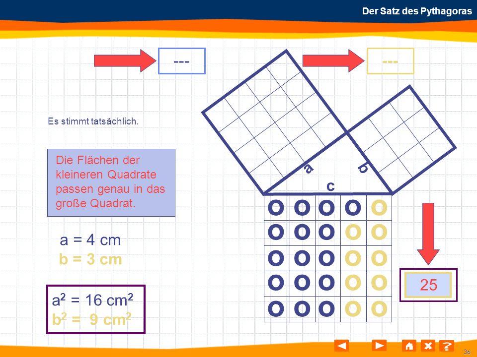 36 Der Satz des Pythagoras Es stimmt tatsächlich. Die Flächen der kleineren Quadrate passen genau in das große Quadrat. o o o o o o o o o o o o o o o