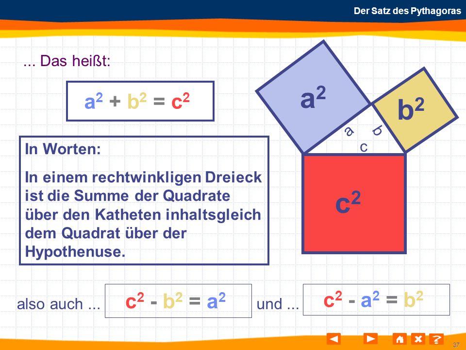 37 Der Satz des Pythagoras a2 + b2 = c2a2 + b2 = c2 a b c a2a2 b2b2 c2c2 also auch... c 2 - b 2 = a 2 c 2 - a 2 = b 2 und...... Das heißt: In Worten: