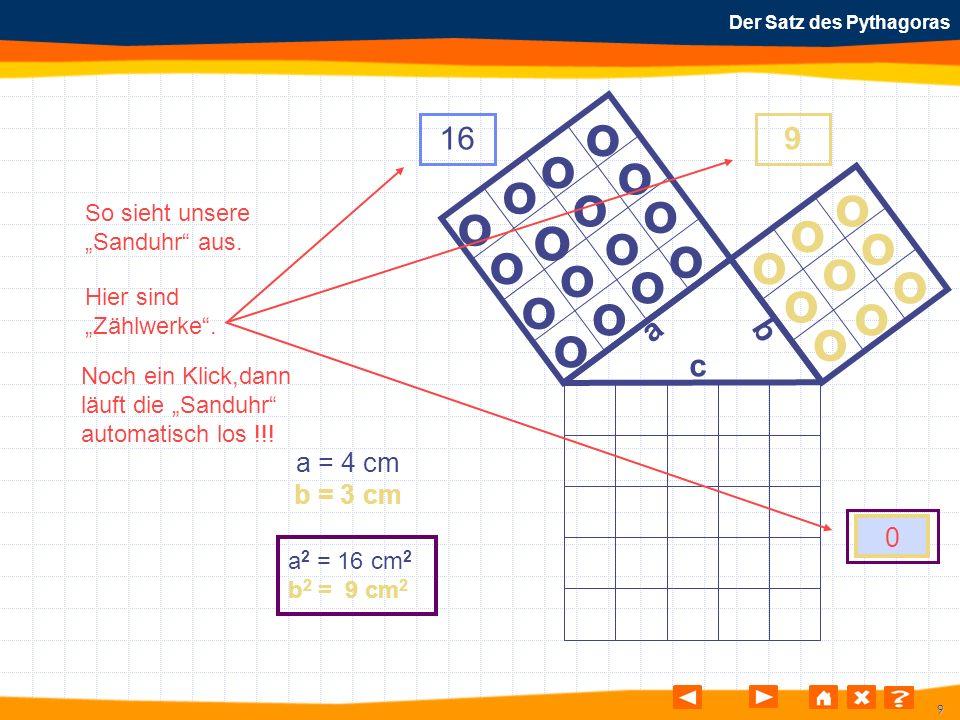 9 Der Satz des Pythagoras o o o o o o o o o o o o o o o o o o o o o o o o o a b c a = 4 cm b = 3 cm a 2 = 16 cm 2 b 2 = 9 cm 2 169 0 So sieht unsere S