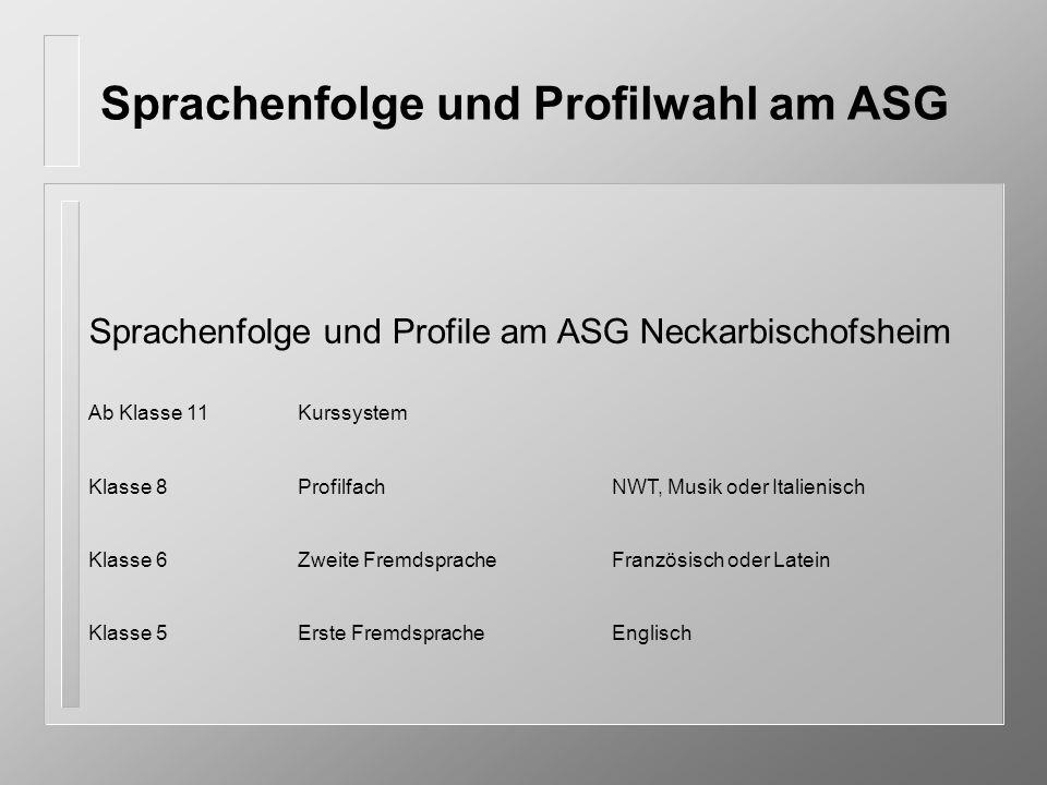 Sprachenfolge und Profilwahl am ASG Sprachenfolge und Profile am ASG Neckarbischofsheim Ab Klasse 11Kurssystem Klasse 8ProfilfachNWT, Musik oder Itali