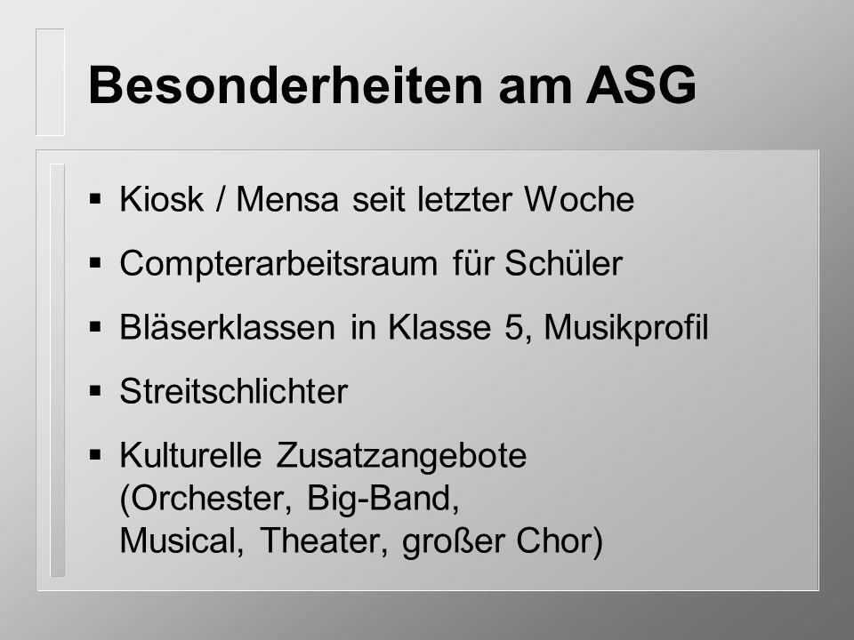 Kiosk / Mensa seit letzter Woche Compterarbeitsraum für Schüler Bläserklassen in Klasse 5, Musikprofil Streitschlichter Kulturelle Zusatzangebote (Orc