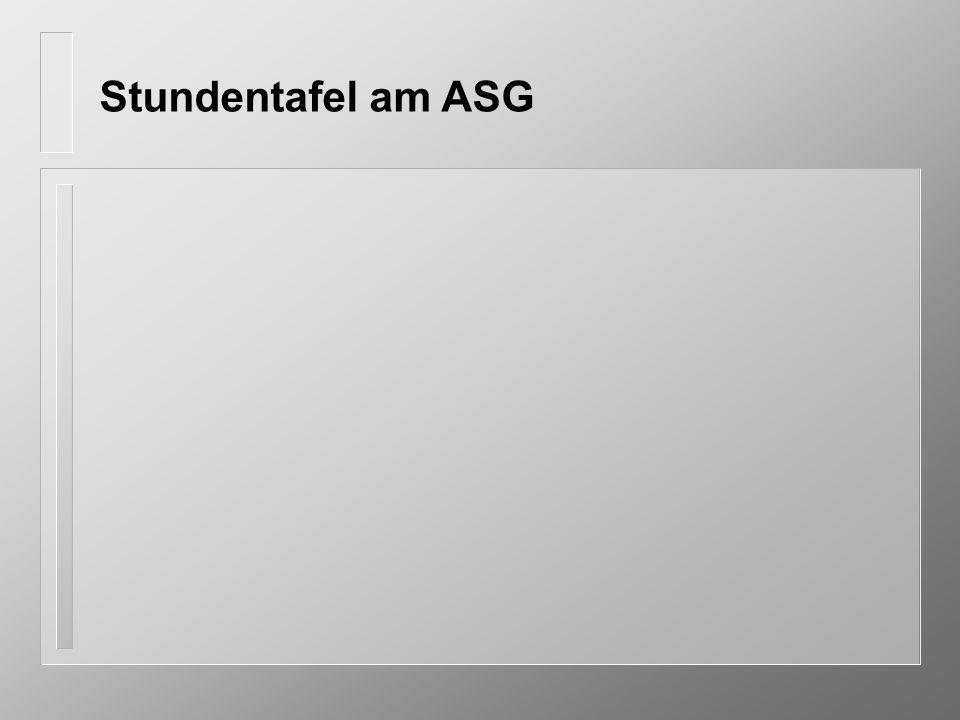 Stundentafel am ASG
