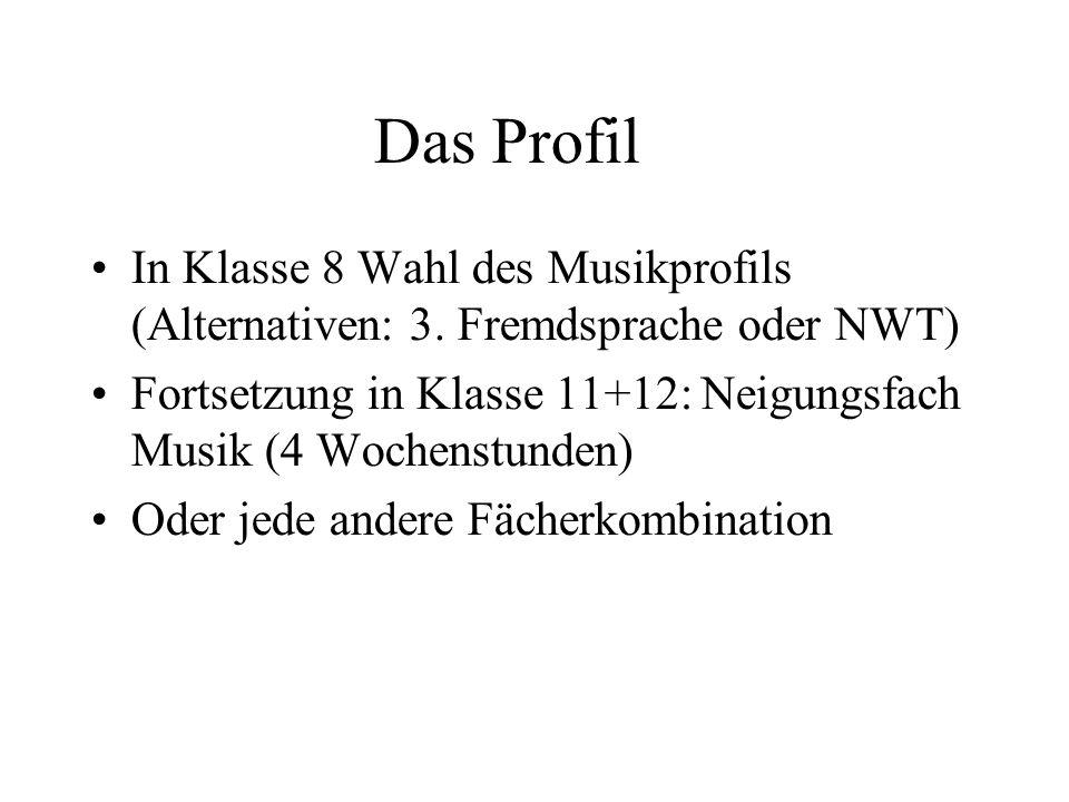Das Profil In Klasse 8 Wahl des Musikprofils (Alternativen: 3. Fremdsprache oder NWT) Fortsetzung in Klasse 11+12: Neigungsfach Musik (4 Wochenstunden