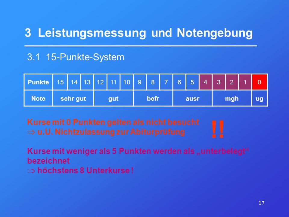 17 3 Leistungsmessung und Notengebung ___________________________________ 3.1 15-Punkte-System Punkte1514131211109876543210 Notesehr gutgutbefrausrmgh