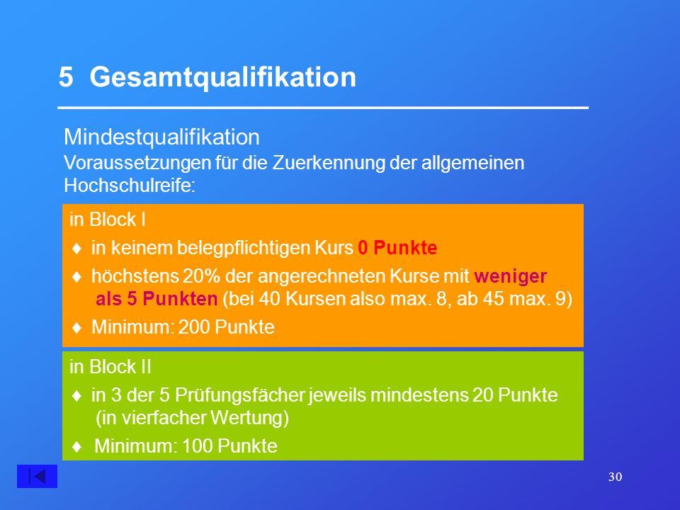 30 5 Gesamtqualifikation __________________________________ Mindestqualifikation in Block II in Block I Voraussetzungen für die Zuerkennung der allgem