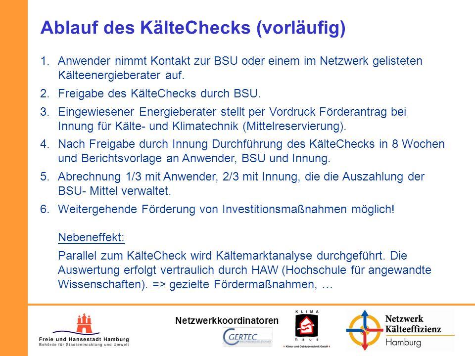 Netzwerkkoordinatoren Ablauf des KälteChecks (vorläufig) 1.Anwender nimmt Kontakt zur BSU oder einem im Netzwerk gelisteten Kälteenergieberater auf. 2
