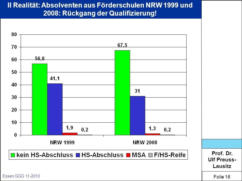 Prof. Dr. Ulf Preuss- Lausitz Folie 16 Essen GGG 11-2010 II Realität: Absolventen aus Förderschulen NRW 1999 und 2008: Rückgang der Qualifizierung!