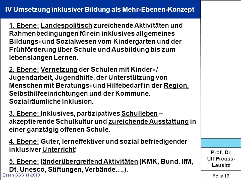 Prof. Dr. Ulf Preuss- Lausitz Folie 19 Essen GGG 11-2010 IV Umsetzung inklusiver Bildung als Mehr-Ebenen-Konzept 1. Ebene: Landespolitisch zureichende