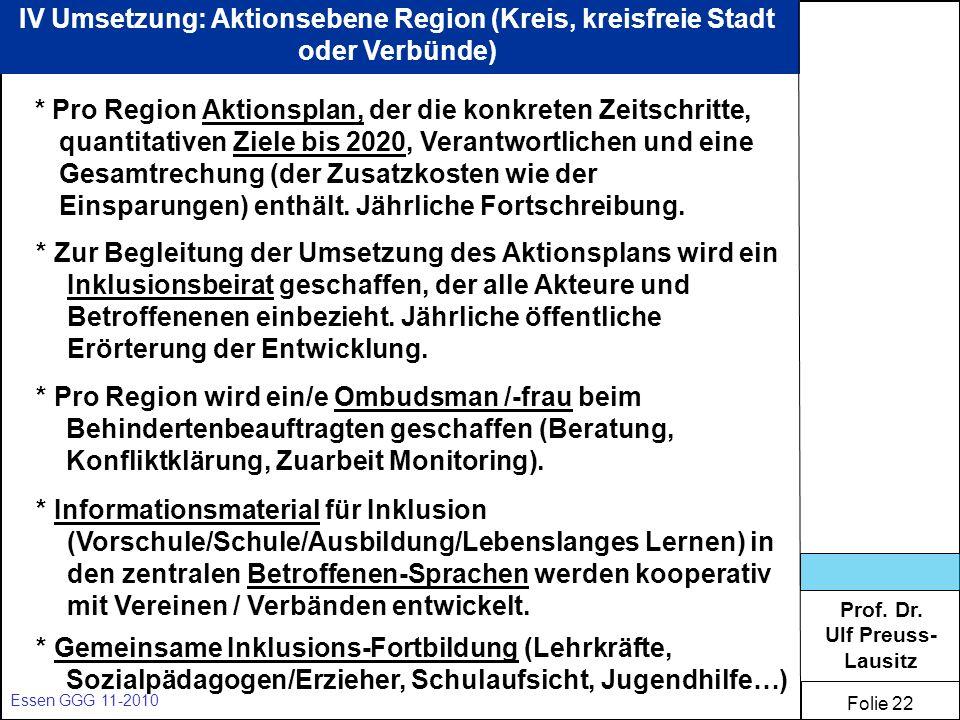 Prof. Dr. Ulf Preuss- Lausitz Folie 22 Essen GGG 11-2010 IV Umsetzung: Aktionsebene Region (Kreis, kreisfreie Stadt oder Verbünde) * Pro Region Aktion