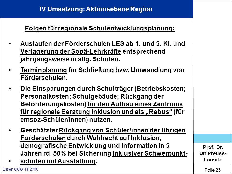 Prof. Dr. Ulf Preuss- Lausitz Folie 23 Essen GGG 11-2010 IV Umsetzung: Aktionsebene Region Folgen für regionale Schulentwicklungsplanung: Auslaufen de