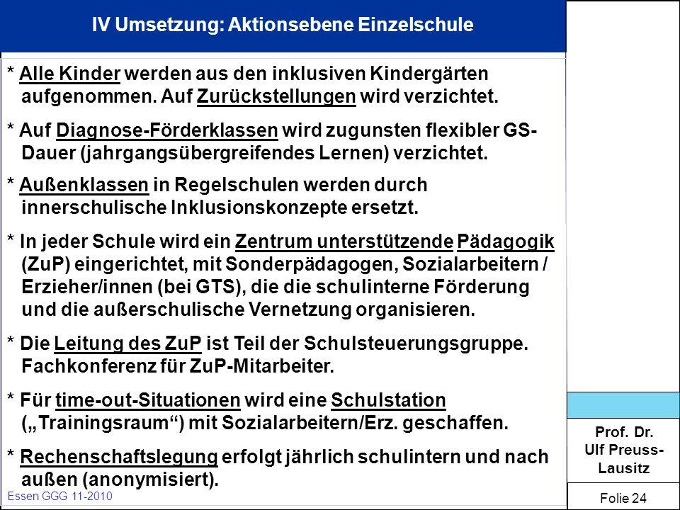 Prof. Dr. Ulf Preuss- Lausitz Folie 24 Essen GGG 11-2010 IV Umsetzung: Aktionsebene Einzelschule * Alle Kinder werden aus den inklusiven Kindergärten