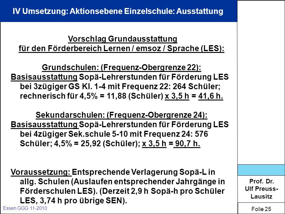 Prof. Dr. Ulf Preuss- Lausitz Folie 25 Essen GGG 11-2010 IV Umsetzung: Aktionsebene Einzelschule: Ausstattung Vorschlag Grundausstattung für den Förde