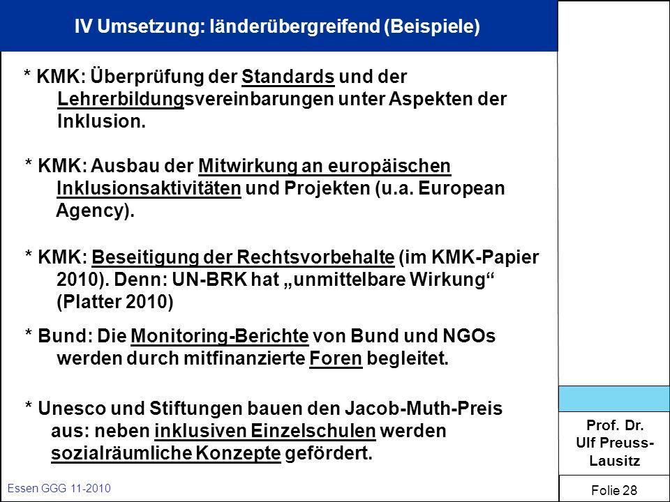 Prof. Dr. Ulf Preuss- Lausitz Folie 28 Essen GGG 11-2010 IV Umsetzung: länderübergreifend (Beispiele) * KMK: Überprüfung der Standards und der Lehrerb