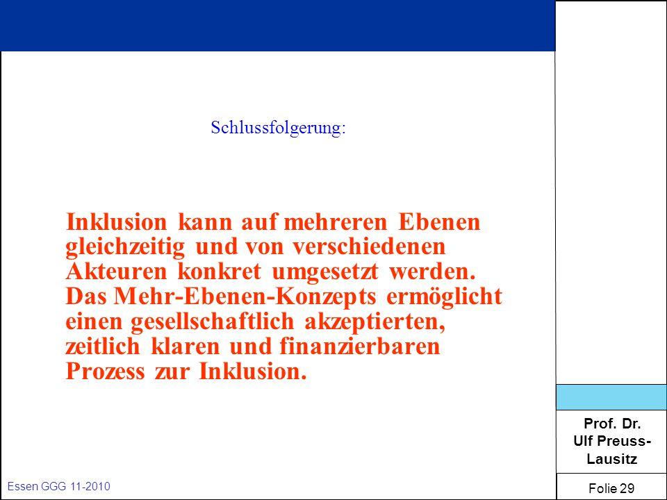 Prof. Dr. Ulf Preuss- Lausitz Folie 29 Essen GGG 11-2010 Schlussfolgerung: Inklusion kann auf mehreren Ebenen gleichzeitig und von verschiedenen Akteu