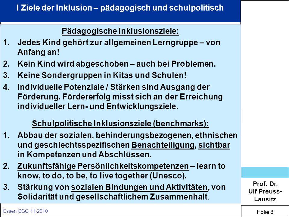 Prof. Dr. Ulf Preuss- Lausitz Folie 8 Essen GGG 11-2010 I Ziele der Inklusion – pädagogisch und schulpolitisch Pädagogische Inklusionsziele: 1.Jedes K