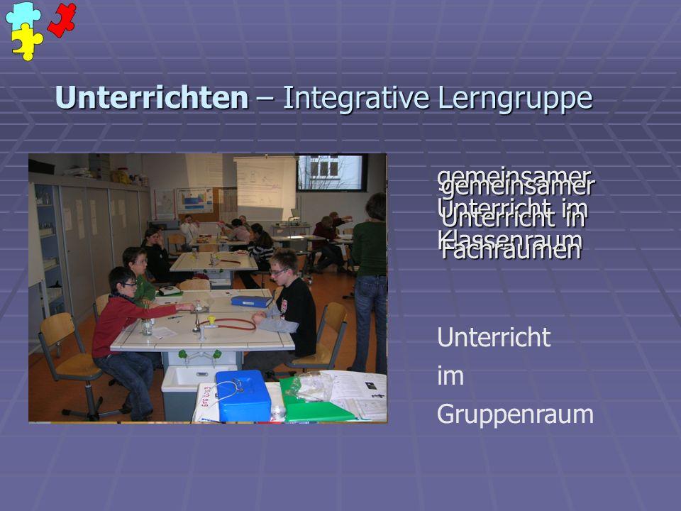 Unterrichten – Integrative Lerngruppe gemeinsamer Unterricht im Klassenraum Unterricht im Gruppenraum gemeinsamer Unterricht in Fachräumen