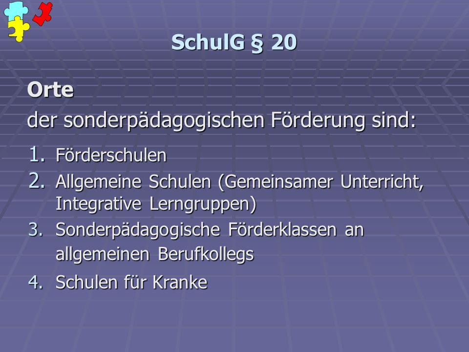 SchulG § 20 1. Förderschulen 2. Allgemeine Schulen (Gemeinsamer Unterricht, Integrative Lerngruppen) 3.Sonderpädagogische Förderklassen an allgemeinen
