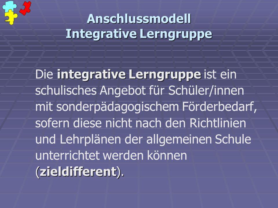 Anschlussmodell Integrative Lerngruppe integrative Lerngruppe (zieldifferent). Die integrative Lerngruppe ist ein schulisches Angebot für Schüler/inne