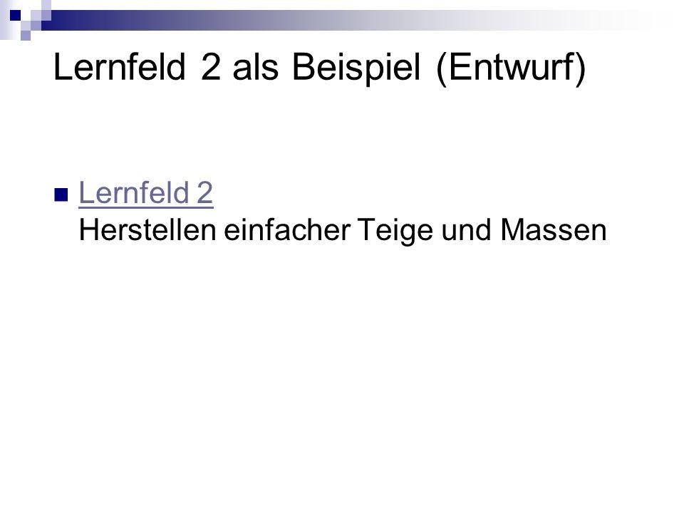 Lernfeld 2 als Beispiel (Entwurf) Lernfeld 2 Herstellen einfacher Teige und Massen Lernfeld 2
