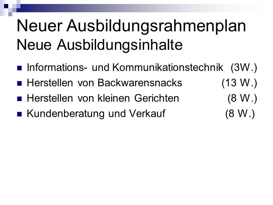 Neuer Ausbildungsrahmenplan Neue Ausbildungsinhalte Informations- und Kommunikationstechnik (3W.) Herstellen von Backwarensnacks (13 W.) Herstellen von kleinen Gerichten (8 W.) Kundenberatung und Verkauf (8 W.)