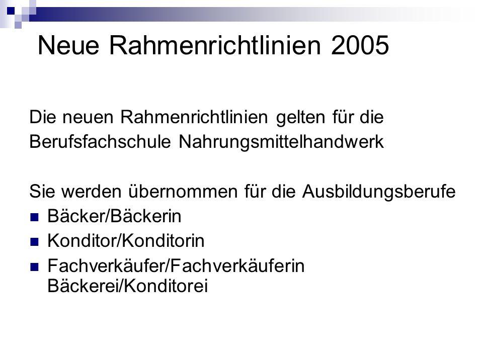 Neue Rahmenrichtlinien 2005 Die neuen Rahmenrichtlinien gelten für die Berufsfachschule Nahrungsmittelhandwerk Sie werden übernommen für die Ausbildungsberufe Bäcker/Bäckerin Konditor/Konditorin Fachverkäufer/Fachverkäuferin Bäckerei/Konditorei