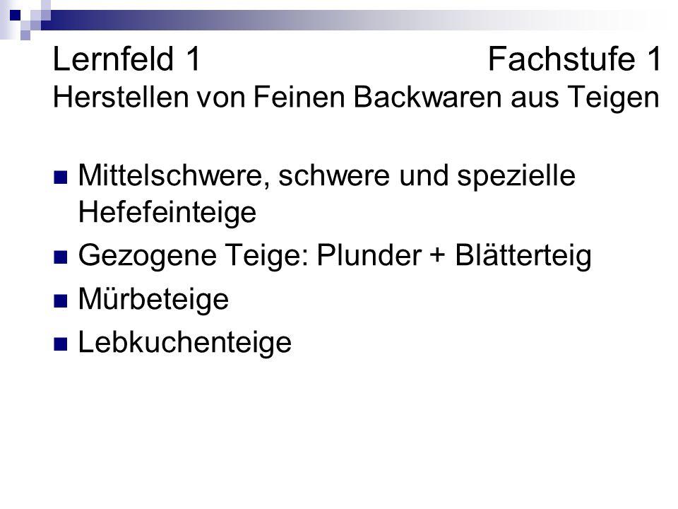 Lernfeld 1 Fachstufe 1 Herstellen von Feinen Backwaren aus Teigen Mittelschwere, schwere und spezielle Hefefeinteige Gezogene Teige: Plunder + Blätterteig Mürbeteige Lebkuchenteige