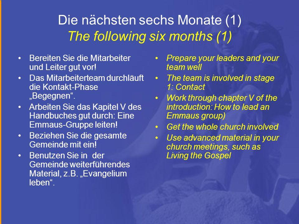 Die nächsten sechs Monate (1) The following six months (1) Bereiten Sie die Mitarbeiter und Leiter gut vor.