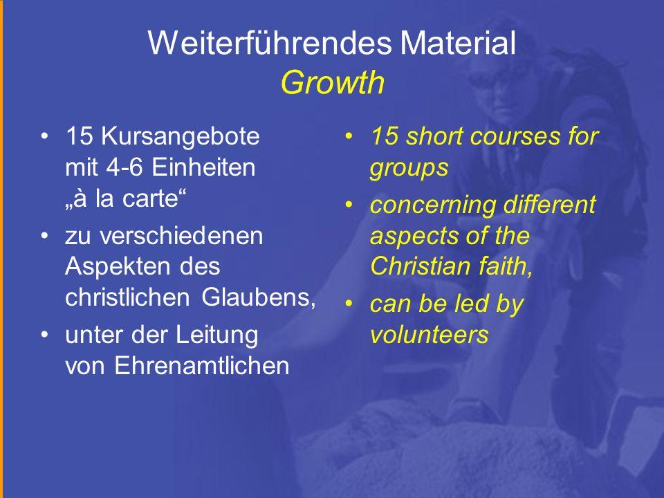 Weiterführendes Material Growth 15 Kursangebote mit 4-6 Einheiten à la carte zu verschiedenen Aspekten des christlichen Glaubens, unter der Leitung vo