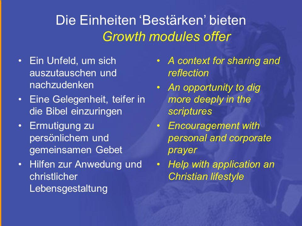Die Einheiten Bestärken bieten Growth modules offer Ein Unfeld, um sich auszutauschen und nachzudenken Eine Gelegenheit, teifer in die Bibel einzuring