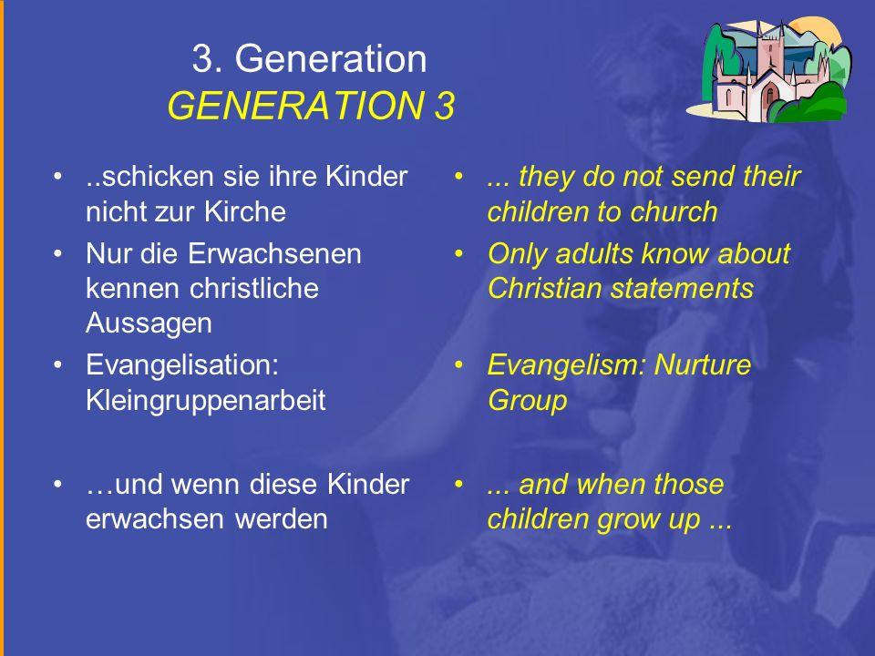 3. Generation GENERATION 3..schicken sie ihre Kinder nicht zur Kirche Nur die Erwachsenen kennen christliche Aussagen Evangelisation: Kleingruppenarbe