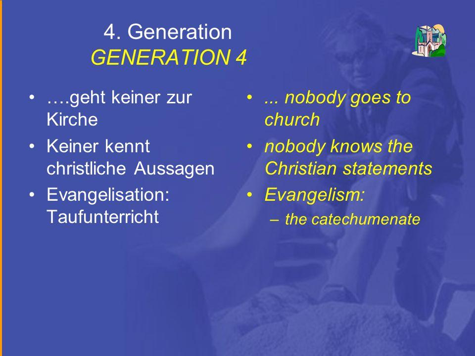 4. Generation GENERATION 4 ….geht keiner zur Kirche Keiner kennt christliche Aussagen Evangelisation: Taufunterricht... nobody goes to church nobody k