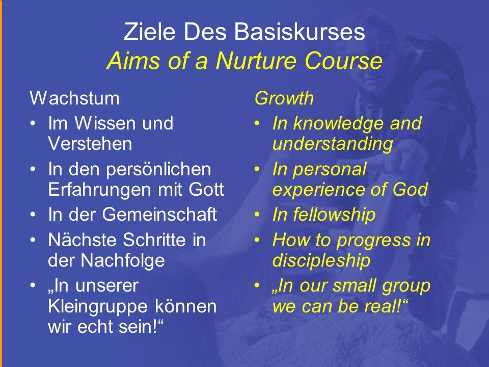 Ziele Des Basiskurses Aims of a Nurture Course Wachstum Im Wissen und Verstehen In den persönlichen Erfahrungen mit Gott In der Gemeinschaft Nächste S