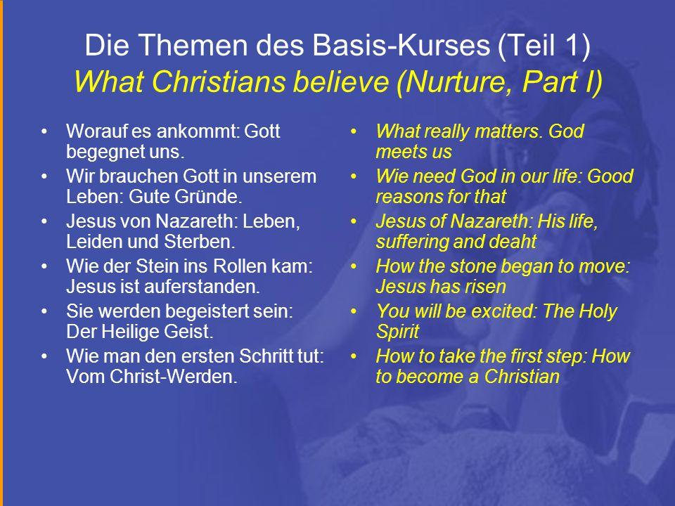 Die Themen des Basis-Kurses (Teil 1) What Christians believe (Nurture, Part I) Worauf es ankommt: Gott begegnet uns. Wir brauchen Gott in unserem Lebe
