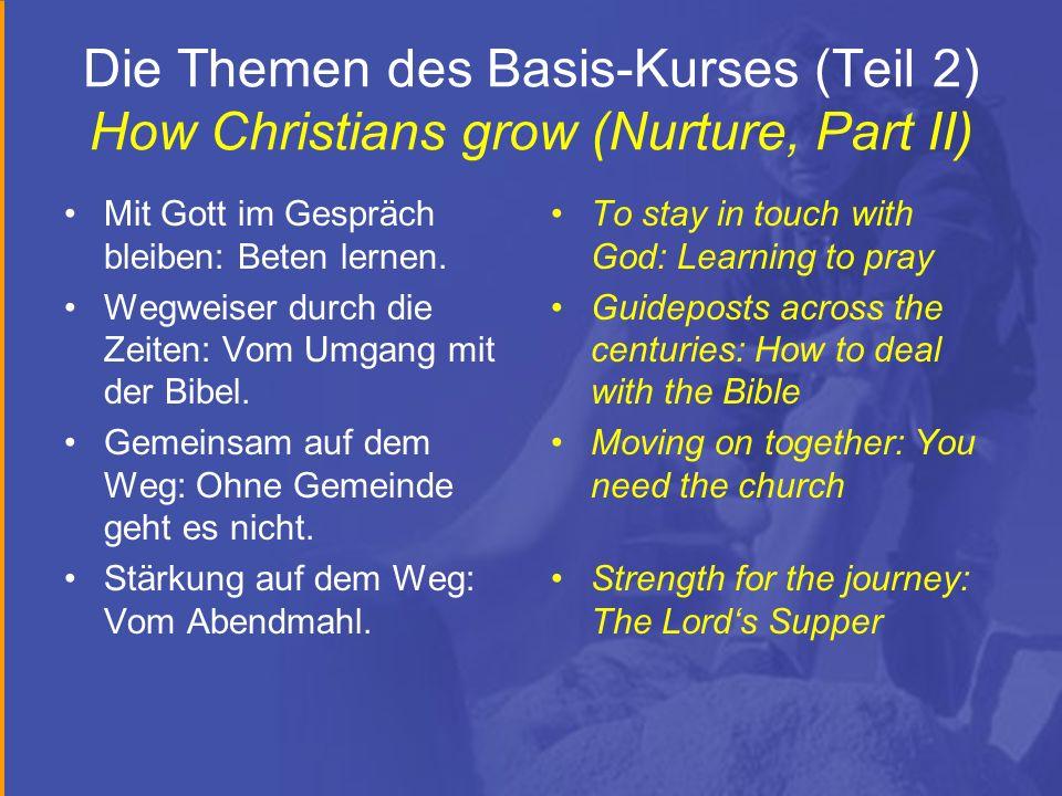 Die Themen des Basis-Kurses (Teil 2) How Christians grow (Nurture, Part II) Mit Gott im Gespräch bleiben: Beten lernen. Wegweiser durch die Zeiten: Vo