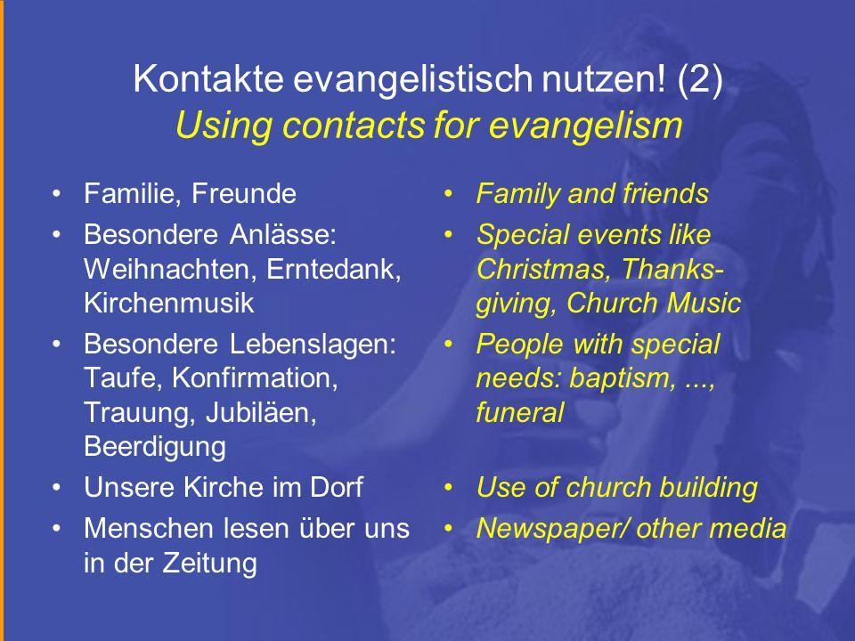 Kontakte evangelistisch nutzen! (2) Using contacts for evangelism Familie, Freunde Besondere Anlässe: Weihnachten, Erntedank, Kirchenmusik Besondere L